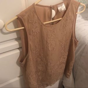 Sleeveless lace and mesh forever 21 top